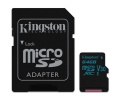 Paměťová karta Kingston Canvas Go! MicroSDXC 64GB UHS-I U3 (90R/45W) + adapter